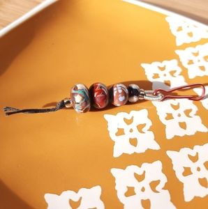 Red, Brown, & Multicolor Glass Bead Key Chain